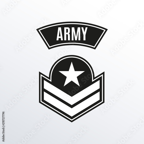 Army badge  Military patch with star  Force emblem  Vector