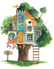 Hand drawn watercolor illustration. Cute tree house.