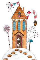 Hand drawn watercolor illustration. Gingerbread house.