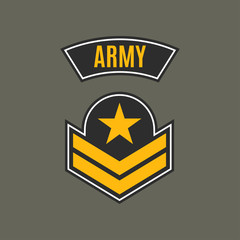 Army badge. Military patch with star. Force emblem. Vector illustration.