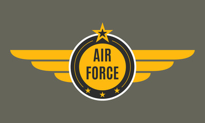 Air force badge with wings and star. Army and military emblem. Airforce logo. Vector illustration.
