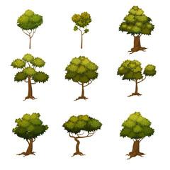 Set of autumn trees, different types, modern trend design, cartoon style, vector, illustration, isolated