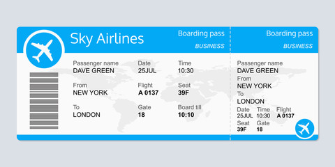 Plane ticket template. Airplane flight ticket blank. Boarding pass. Vector illustration.