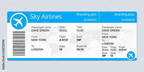 Plane Ticket Template Airplane Flight Ticket Blank