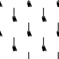 Broom Icon, Cleaning Broom Seamless Pattern