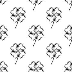 Clover Four Leaf Shamrock Seamless Pattern