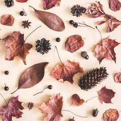 Autumn composition. Pattern made of dried leaves on pastel beige background. Autumn, fall concept....