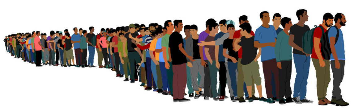 Group of people waiting in line vector isolated on white background. Group of refugees, migration crisis in Europe. Turkey war migration waves going through Schengen Area. Border situation in EU.