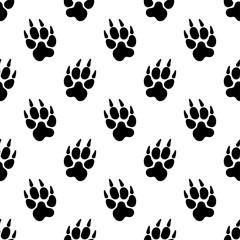 Paw Print Icon Seamless Pattern, Dog, Cat, Fox Foot Imprint