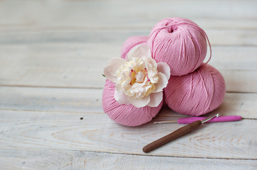 Colorful skeins of woolen thread. It can be used as a background