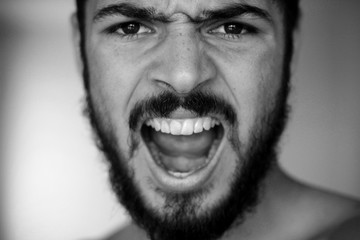 guy with a beard, black and white photo