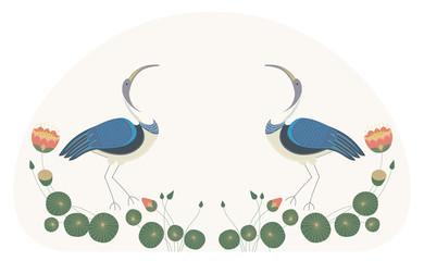 Фон для текста светло-серого цвета с декоративным изображением двух  птицы ибиса, стоящих среди цветов, стеблей, бутонов и листьев лотоса.