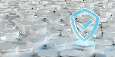 White blue shield icon on hexagons background 3D rendering