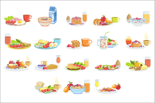 Different Breakfast Food And Drink Sets. Collection Of Morning Menu Plates Illustrations In Detailed Simple