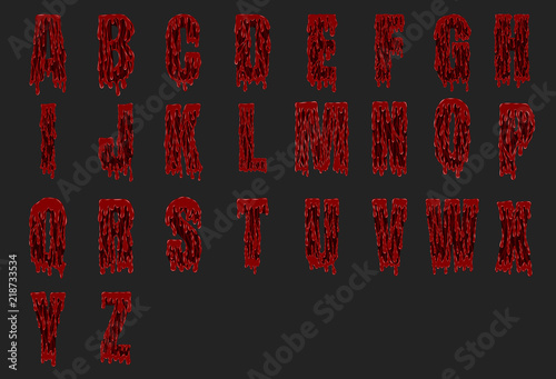 Halloween alphabet set from vector.Bloody font on black