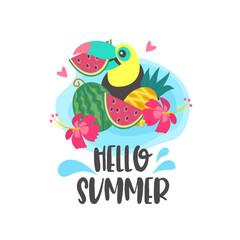 Hello summer. Aloha. Cute cheerful Toucan. Colorful vector illustration, emblem.
