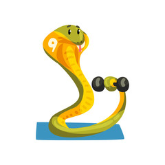 Cute snake exercising with dumbbell, sportive animal character, fitness and healthy lifestyle vector Illustrations on a white background