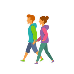 young man and woman walking holding hands side view vector illustration