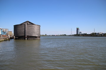 Wooden copy of Noah's Ark in the harbor of Krimpen aan den IJssel, heavy damaged by winterstorm.