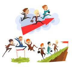 Businessmen overcoming obstacles together to achieving the goals, teamwork, business, career development concept vector Illustration isolated on a white background