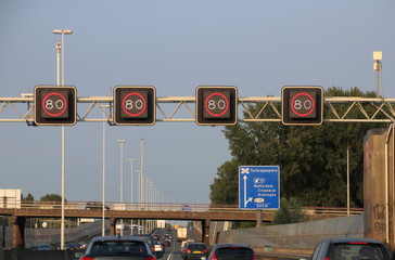 mandatory speed sign above motorway A20 at Rotterdam, where track controll will measure speed