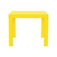 Yellow square table mock up - front view. Vector illustration