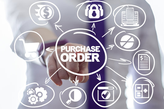 Women clicks a purchase order words button on a virtual panel. Purchase order web commerce online shopping concept.