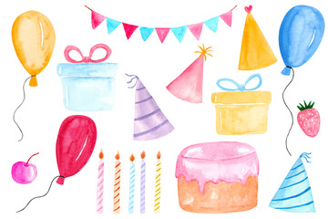 Watercolor Birthday party clipart with colorful balloons, gift boxes, flags garland, cake, candles, party hats, cherry and strawberry.