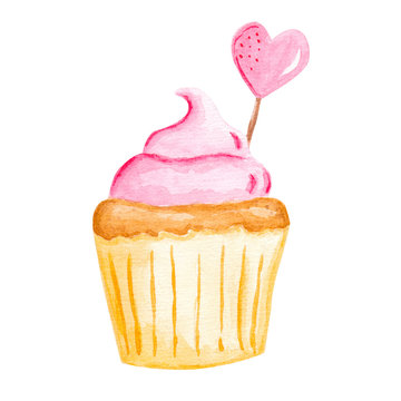 Watercolor hand drawn cupcake with heart decoration. Delicious food illustration, isolated on white background.