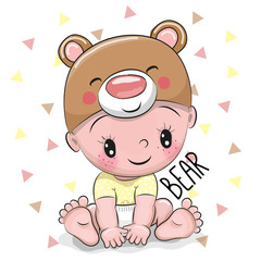 Cute Cartoon Baby boy in a Bear hat