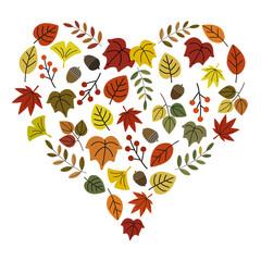 秋の葉っぱ ハート形 / vector eps 10
