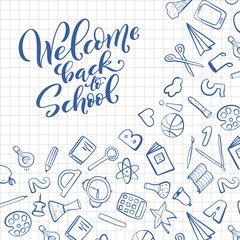 Welcome back to school handdrawn lettering. Vector illustration.