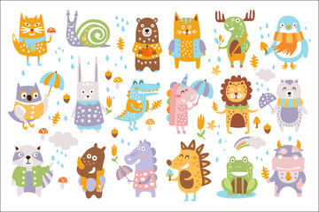 Animal Woodland Autumn Vector Set. Cartoon of cute animals vector set