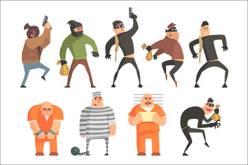 Criminals And Convicts Funny Characters Set. Cartoon Fun Style Vector Illustrations Isolated