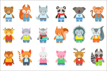 Toy Kids Animals In Clothes Characters Set. Cute Cartoon Childish Style Illustrations Isolated