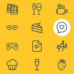 Vector illustration of 12 celebrate icons line style. Editable set of cupcake, playlist, masquerade and other icon elements.