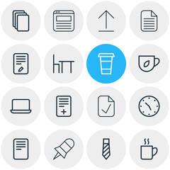 Vector illustration of 16 office icons line style. Editable set of browser tab, coffee mug, tea and other icon elements.