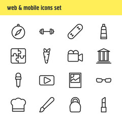 Vector illustration of 16 lifestyle icons line style. Editable set of mic, compass, movie and other icon elements.