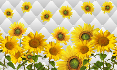 Background with rhombuses and sunflowers