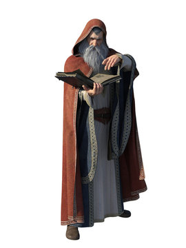 Wizard with Spell Book, Isolated