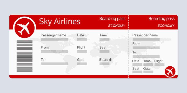 Plane ticket template. Airplane flight ticket realistic blank. Boarding pass. Vector illustration.
