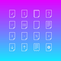 Vector illustration of 16 paper icons line style. Editable set of cheque, documents, file and other icon elements.