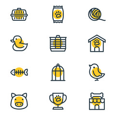 Vector illustration of 12 pet icons line style. Editable set of clew, kibble, duck and other icon elements.