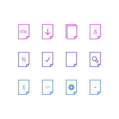 Vector illustration of 12 document icons line style. Editable set of web, remove, download and other icon elements.