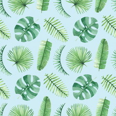 Watercolor seamless tropical pattern