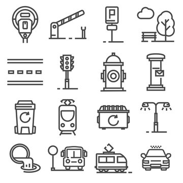 Vector gray line city amenities icons set