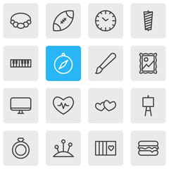 Vector illustration of 16 hobby icons line style. Editable set of rugby, heartbeat, compass and other icon elements.