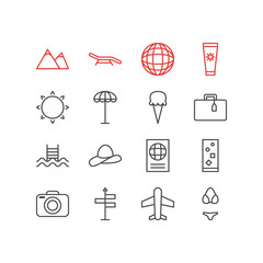 Vector illustration of 16 season icons line style. Editable set of sunscreem, globe, parasol and other icon elements.