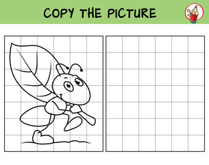 Funny ant is carrying a leaf. Copy the picture. Coloring book. Educational game for children. Cartoon vector illustration