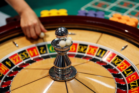 The spinning wheel on a roulette table is seen at Japan Casino School in Tokyo
